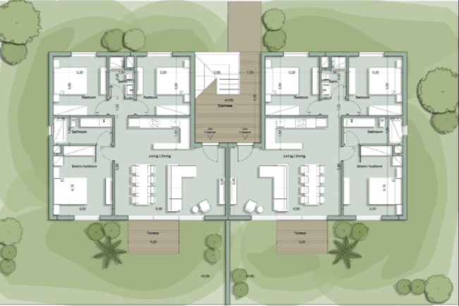 Master Plan for Chalet with space of 108 meter