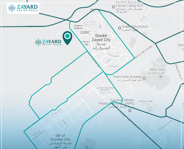 Location of Zayard by Palmier Developments