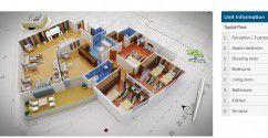 مخطط شقة بمساحة 248 متر في كمبوند كنز