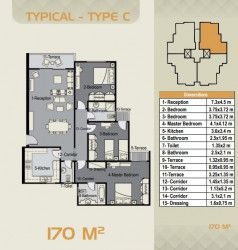 Apartment with area 170 m in Sky Capital Compound