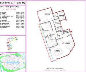 .مخطط لشقة 231 متر في لاميرادا من جراند بلازا