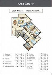 An Internal Plan For Apartments 230 m² in Golden Yard Compound