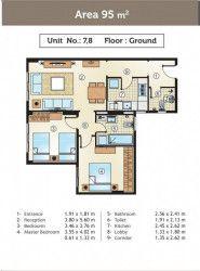 شقة بمساحة 95 متر في كمبوند جولدن يارد