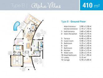 مخطط فيلا 410 متر في قرية مارسيليا بيتش 4