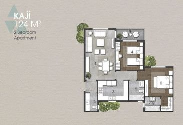 Floor Plan for Apartment 124 m in Anakaji New Capital.