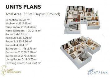 Master Plane Apartment with an area 335 m² in Catalan new capital.