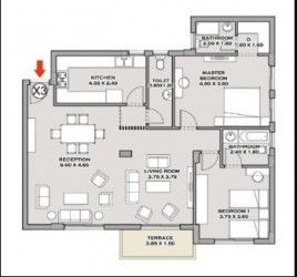 Plan of 124 meters apartment in Tag Sultan