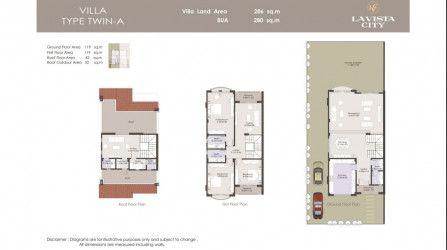 .وحدة توين هاوس في كمبوند لافيستا سيتي بمساحة 280 متراً مربعاً