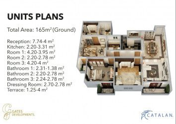 Apartments with area of 165 m² in Catalan by Gates.