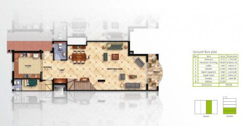 Ground Floor Plan For Ivilla With Area 278 m² in Mountain View Hyde Park