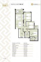 مخطط شقة 140 متر في ذا أدريس إيست