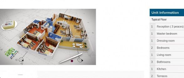 Apartment plan with an area of 245m in Kenz Compound