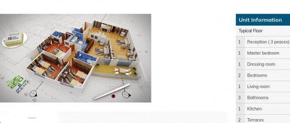 مخطط شقة بمساحة 245 متر في كمبوند كنز