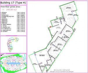.مخطط الدور لشقة بمساحة 250 متر في كمبوند لاميرادا التجمع الخامس