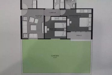 Apartment plan of 105 square meters with garden in Midtown Condo Compound