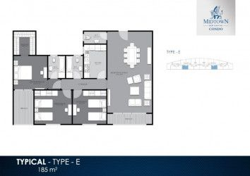 Apartment Plan For An Area of 185 m² in Midtown Condo