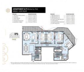 .مُخطط شقة بمساحة 230 متر في كمبوند روزس