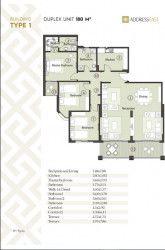 مخطط شقة 180 متر في كمبوند ذا أدريس أيست