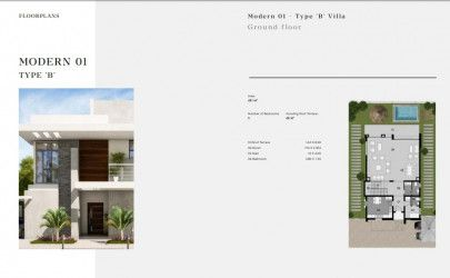 Modern Villa Type B with Area 481 m² in Al Maqsad Compound by City Edge.