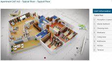 مخطط شقة بمساحة 247 متر في كمبوند كنز