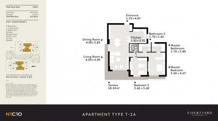 .شقة مساحة 135 متر للبيع في كمبوند البروج