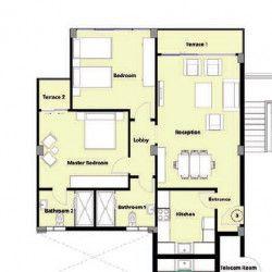 شقة بمساحة 125 متر في كمبوند بورد ووك