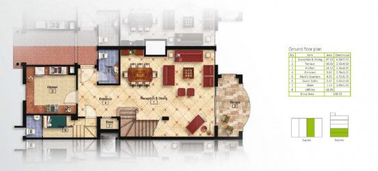 Ground Floor Plan For 225 m² Villa in Mountain View Hyde Park