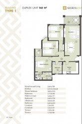 مخطط شقة 140 متر في كمبوند ذا أدريس أيست