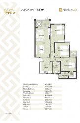 مخطط شقة 163 متر في كمبوند ذا أدريس إيست