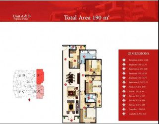 Apartment with area 190m in Capital Heights 2 compound