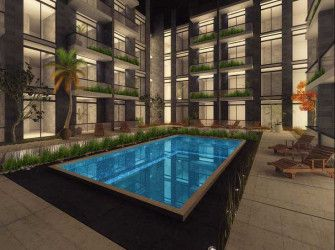 Apartments overlooking swimming pools in Degla Towers compound