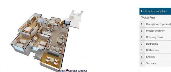 شقة للبيع في كمبوند كنز بمساحة 190 متر