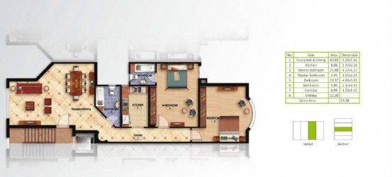 Apartment plan for area 133 m² in Mountain View Hyde Park