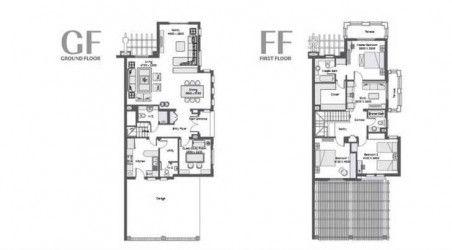 مخطط داخلي لتوين هاوس بمساحة 279 متر في كمبوند أب تاون كايرو