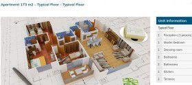 مخطط شقة بمساحة 173 متر في كمبوند كنز