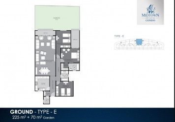 Apartment Plan with Garden in Midtown Condo compound with area 225 m²