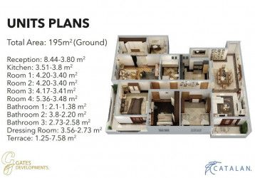 Apartments with area of 195 m in Catalan by Gates.