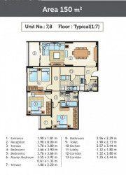 شقة للبيع في كمبوند جولدن يارد بمساحة 150 متر